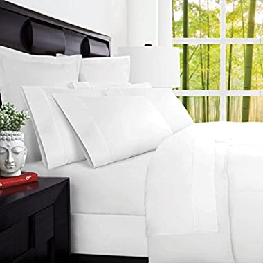 Mandarin Home Luxury 100 Percent Rayon Derived From Bamboo Bed Sheets - Eco-friendly, Hypoallergenic and Wrinkle Resistant - 4-Piece - (Cal King, White)