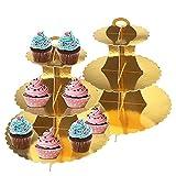 Lot De 2 Présentoirs à Gâteaux 3 Niveaux Support à Cupcakes en Carton Thé De L'après-midi Support à Dessert Tour Ronde Décorations De Dentelle pour La Fête De Noël Anniversaire Anniversaire (d'or)