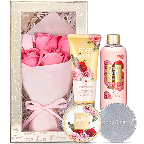 Gift Set for Women, Gift Baskets for Women - 5 Piece Rose Scent Womens Gift Sets, Includes Shower Gel, Body Scrub, Body Lotion, Hand Soap, Spa Gifts for Women, Birthday Gift Box for Her Mom Friend