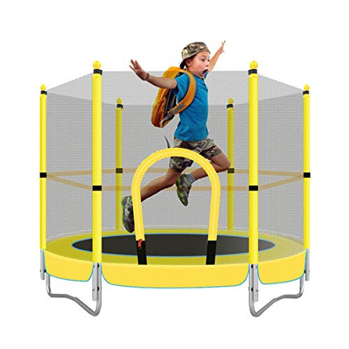 WQYRLJ 5Ft Kids Trampoline with Safety Enclosure, Mini Toddler Safety Trampoline Reinforced Spring Indoor Outdoor Children's Leisure Entertainment Parent-Child Toys