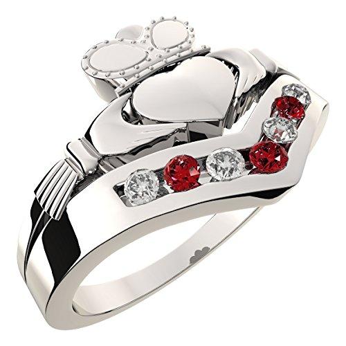 UPCO Jewellery Anillo Claddagh Wishbone de Plata esterlina, Zirconia cúbica,...