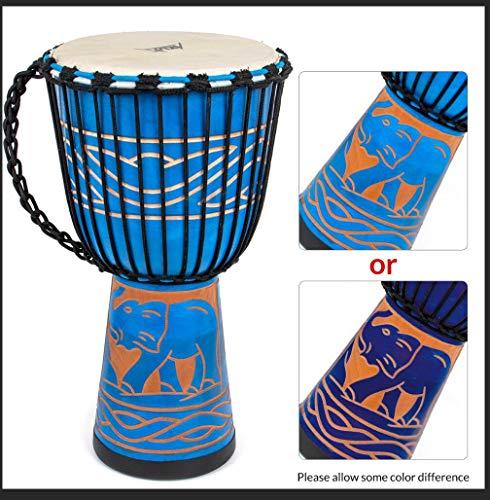 Aklot 50 cm Djembe,Tambor de Djembe, tambores africano tallado a mano Bongo Congo. Tambor de madera de caoba maciza para niños profesionales (diámetro 25 cm, altura 50 cm)