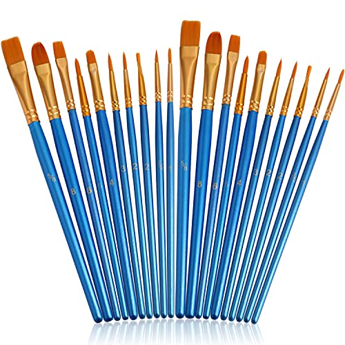 JOINREY Paint Brushes Set,20 Pcs Round Pointed Tip Paintbrushes Nylon Hair Artist Acrylic Paint Brushes for Acrylic Oil Watercolor, Face Nail Art, Miniature Detailing and Rock Painting (Blue)