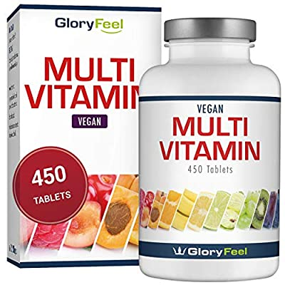 Multivitamins and Minerals - 450 Multivitamin Tablets (More Than 1 Year Supply) - All Essential Vitamins and Minerals from A-Z - Suitable for Vegetarians for Men and Women by GloryFeel from gloryfeel
