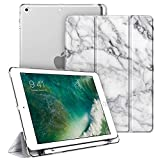 Fintie Case with Built-in Pencil Holder for iPad 6th / 5th Generation - Lightweight SlimShell Cover with Translucent Frosted Back, Supports Auto Wake/Sleep for iPad 9.7 Inch 2018/2017, Marble White