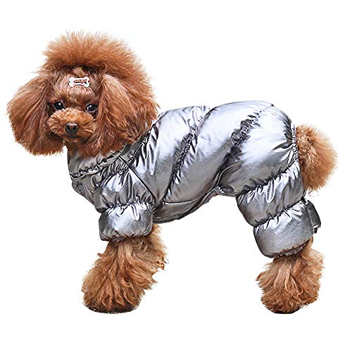 PET ARTIST Winter Puppy Dog Coats for Small Dogs,Cute Warm Fleece Padded Pet Clothes Apparel Clothing for Chihuahua Poodles French Bulldog Pomeranian Silver Chest:14''