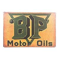 ヴィンテージガレージの装飾BPモーターオイルガソリンスタンドサイン>アンティークオールドオイルウォールプラーク-20x30cm