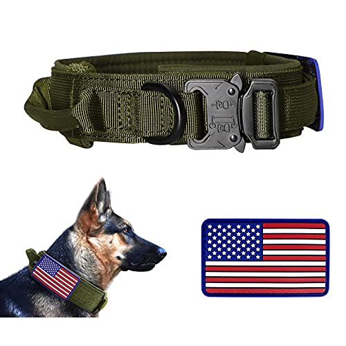 PIOZF Tactical Dog Collar with Handle, Military Dog Collar with Adjustable Heavy-Duty Metal Buckle and Unique USA American Flag Patch, Training K9 Dog Collar for Medium Large Dogs, Green, L