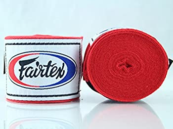 Fairtex Elastic Cotton Handwraps HW2 Hand Wraps Color Black Bleach Blue Red White Pink Purple Thaialnd used in Muay Thai Boxing Kickboxing MMA  Red