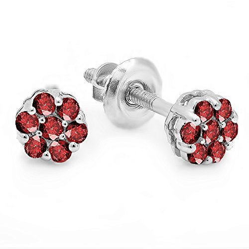 Dazzlingrock Collection 0.20 Carat (ctw) 14K Round Ruby Ladies Cluster Flower Earrings, White Gold