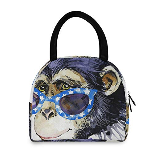 Lunch Totes For Girls Monkey Tshirt Graphics Monkey Illustration Splash Lunch Box Tote Fun Lunchbag For Women Men Adults College Work Picnic Hiking Beach Fishing
