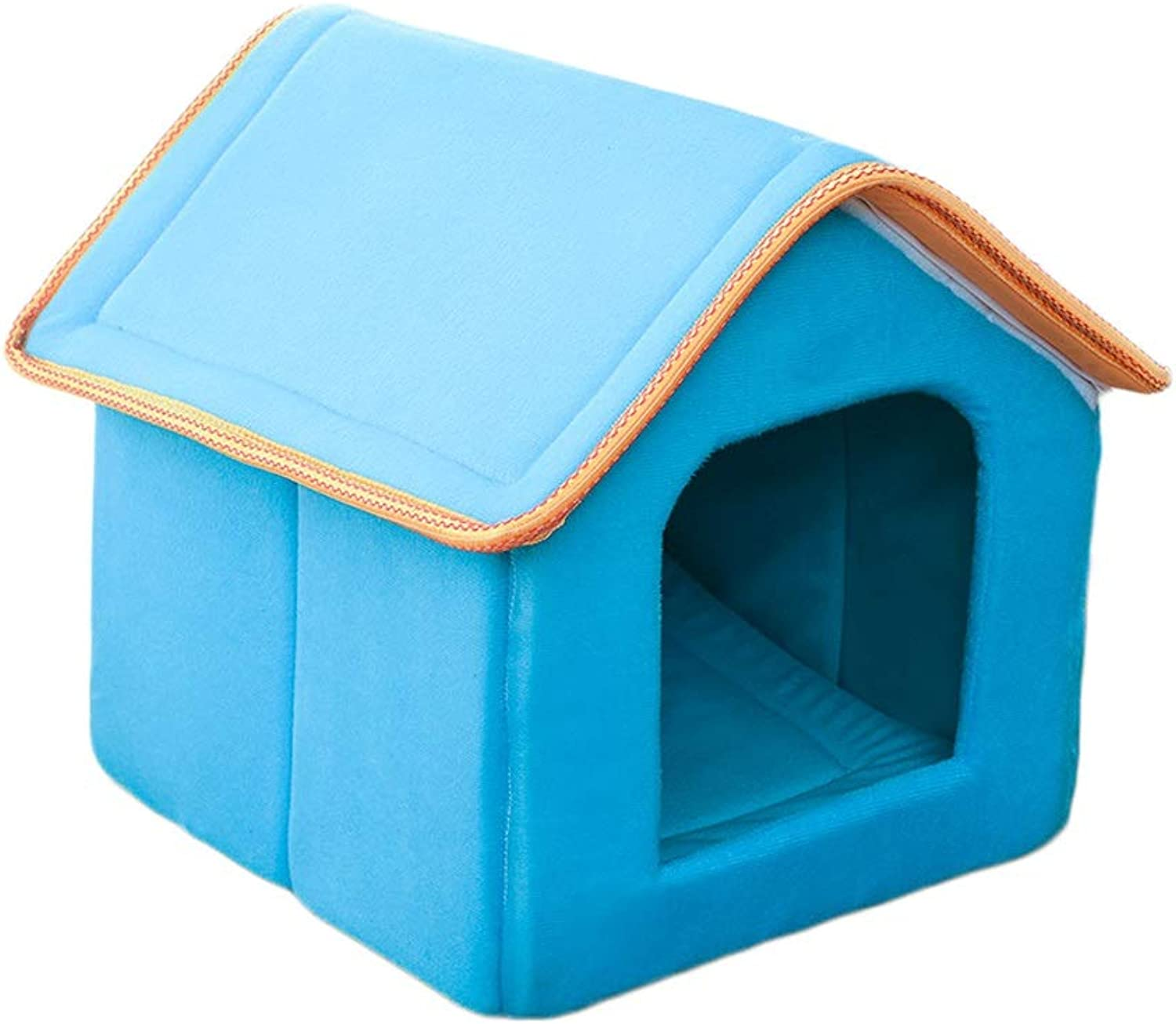 Cat Litter Winter Warm Closed House Washable Cat Sleeping Bag Kennel Small Dog Cat 4 Season Pet Nest (color   bluee, Size   S)