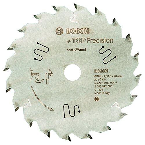 Bosch Professional cirkelzaagblad Top Precision Best voor hout, 165 x 20 x 1,8 mm, 20, 2608642385