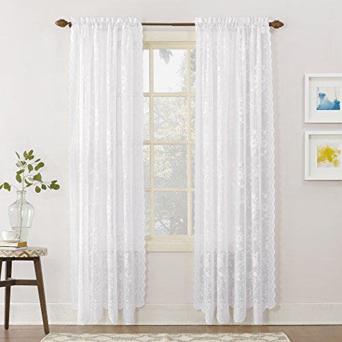 No. 918 24519  Alison Floral Lace Sheer Rod Pocket Curtain Panel, 58' x 84', White