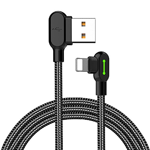 mcdodo LED 90 Grad Ladekabel Winkel USB Kabel abgewinkelt Nylon geflochten Schnellladegerät Daten Sync L Form Kabeladapter kompatibel mit Phone X 8 7 6 Plus Pad Pod(0.5m)