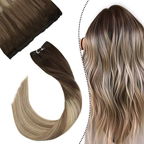 """Ugeat 24""""/60cm Microring Extensions Cheveux Naturels Tissage 50Grammes Une Piece Easy Weft/EZE Weft 10"""" Width Marron Fonce a Brun Clair et Blond Moyen"""