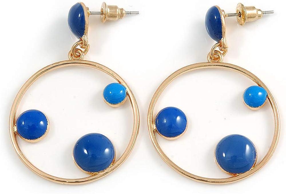 Blue Enamel Dot Circle/Hoop Drop Earrings In Gold Tone - 40mm Long