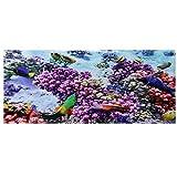 【𝐏𝐫𝐨𝐦𝐨𝐜𝐢ó𝐧 𝐝𝐞 𝐒𝐞𝐦𝐚𝐧𝐚 𝐒𝐚𝐧𝐭𝐚】 Imagen de Fondo del Acuario para Acuario, póster de Coral púrpura de Efecto 3D, Etiqueta Adhesiva de Pared subacuática PVC Adhesivo(122 * 50cm)