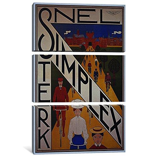 iCanvasART Leinwanddruck Snel Simplex Fahrrad Werbung Vintage Poster von Unknown Artist, 3,8 x 101,6 x 152,4 cm