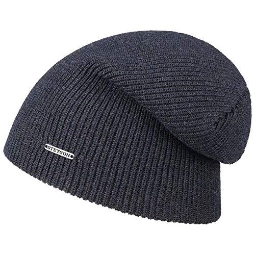 Stetson Long Beanie Wool Mélange Strickmütze im Rippenmuster - Marine (25) - One Size