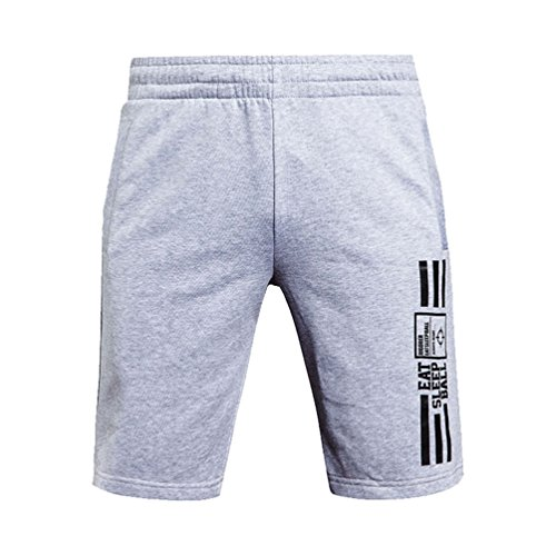 Rigorer Sports Men's Cotton Jersey Shorts Lounge Shorts Summer Beach Shorts Active Wear Sweat Pants Shorts with Pockets Gray XL