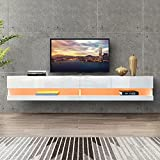 DMAITH 75 inch TV Stand with LED Lights, Floating Entertainment Center Media Console, Wall Mounted High Gloss Modern Storage Shelf for 80/82/86 Inch TVs, White (004W)
