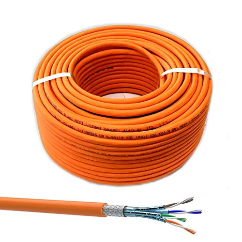 SatShop-Ft 15m CAT 7 Verlegekabel Netzwerkkabel CAT.7 LAN Halogenfrei Installationskabel CAT7 Kabel Netzwerk Verkabelung Datenkabel Gigabit Kupfer Ethernet (15m, Cat 7)
