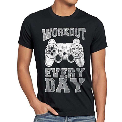 style3 Gamer Workout Herren T-Shirt Play Sport Station Controller ps Game, Farbe:Schwarz, Größe:5XL