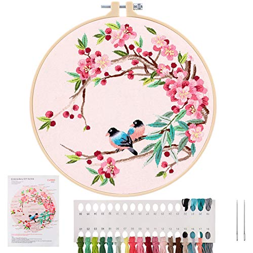 Embroidery Starter Kit – Cross Stitch Kit with Embroidery Cloth, Plastic Hoop, Needles and Threads, Instructions – Complete Embroidery Kit for Adults – Suitable for Beginners and Hobbyists