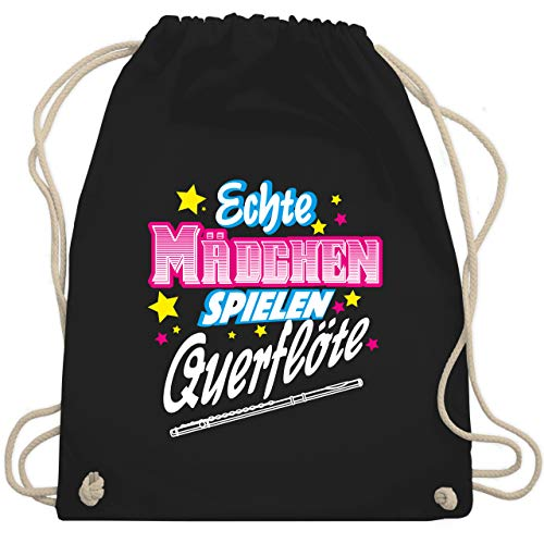 Shirtracer Instrumente - Echte Mädchen spielen Querflöte - Unisize - Schwarz - querflöte tasche - WM110 - Turnbeutel und Stoffbeutel aus Baumwolle