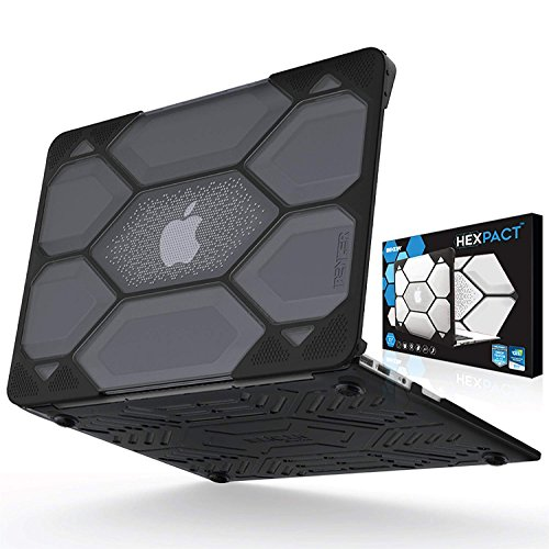 IBENZER Hexpact MacBook Air 13 Inch Case A1466 A1369, Heavy Duty Protective Hard Shell Case Cover for Apple Mac Air 13 Old Version 2017 2016 2015 2014 2013 2012 2011 2010, Black, HA13CYBK