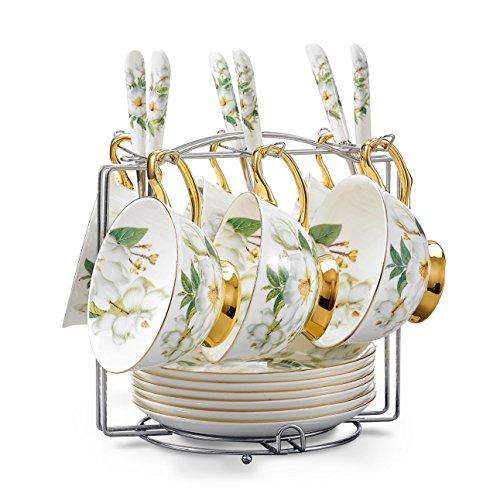 Panbado Juego de tazas y platillos con cucharas y soporte para tazas, Camelia con diseño de hueso de China 19 piezas Set de cerámica de té taza de café tazas de porcelana floral Ceremic tazas, servir para 6