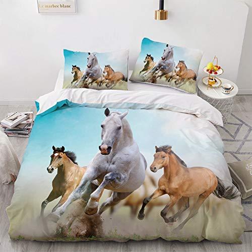 YZDM Bettwäsche Pferd, Bettbezug, Motiv Rennpferd, Mikrofaser, für Kinderzimmer und Erwachsene (E,135 x 200)