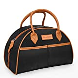 Tirrinia Insulated Lunch Bag w/Leather Handle, Reusable Tote Bag for Women & Men & Kids, Fashionable Cooler Lunch Bag for Working/School/Picnic - Black
