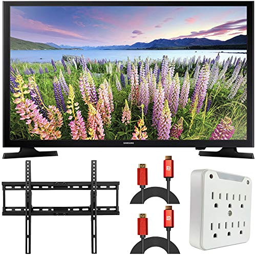SAMSUNG UN40N5200 40' LED Smart FDHTV 1080P (Renewed) Bundle with Slim Flat Wall Mount Kit + 2X 6FT Universal 4K HDMI 2.0 Cable + 6-Outlet Surge Adapter