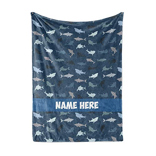 Personalized Custom Shark Pattern Fleece and Sherpa Throw Blanket - Lightweight Bedding Blankets and Gifts for Boys Girls Kids and Adults