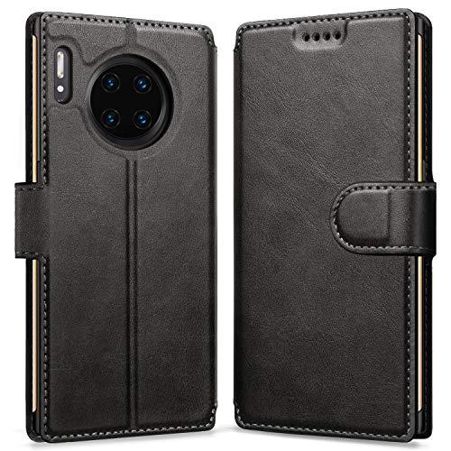 Huawei Mate 30 Pro Hülle, Schwarz PU Leder Schutzhülle für Huawei Mate 30 Pro Flip Case Tasche