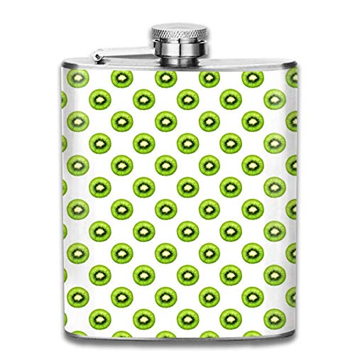 Rundafuwu Schnapsflasche, Kiwi Fruit Pattern Stainless Steel Flask Classic Flask Whiskey Vodka Alcohol Hip Flask for Men Travel Climbing Fishing Camping,7OZ