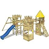 Wickey Parque Infantil de Madera Smart Excalibur con Columpio y tobogán Azul, Casa de Juegos...