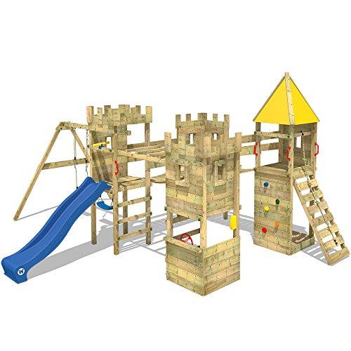 Wickey Parque Infantil de Madera Smart Excalibur con Columpio y tobogán Azul, Torre de Escalada de...