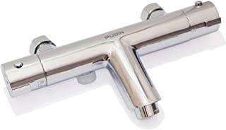 PUDIN - Grifo mezclador de ducha con barra termostática para baño (latón cromado, montaje en pared)
