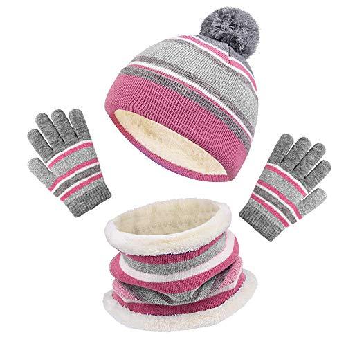 MELARQT Kinder Wintermütze, Baby Warm Strickmütze mit Fleecefutter, Babymütze Schal Mütze und Handschuhe Set, Beanie Mütze für Kinder Kinder Jungen Mädchen, 3-6 Jahre