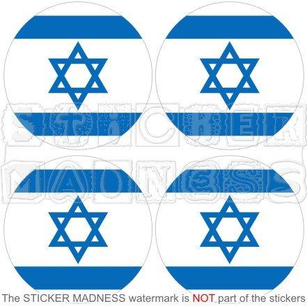 Aufkleber für Stoßstange und Helm, Motiv: Israel-Flagge, rund, jüdisches Hebräisch, 50 mm, Vinyl, 4 Stück