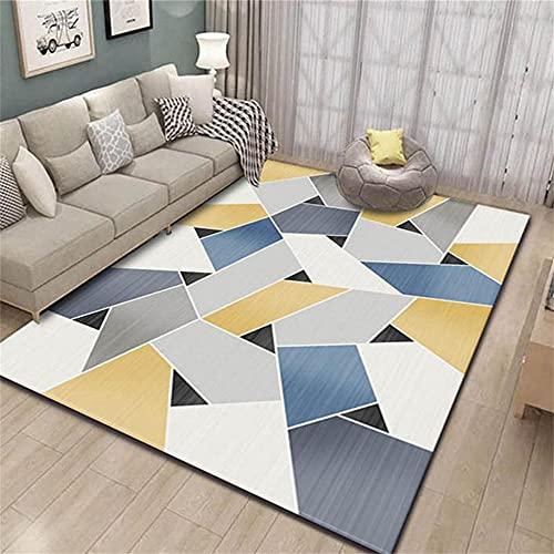 Alfombras Naturales Alfombra XXL Carpeta Azul Dormitorio, diseño sin Pelo, Tela de...