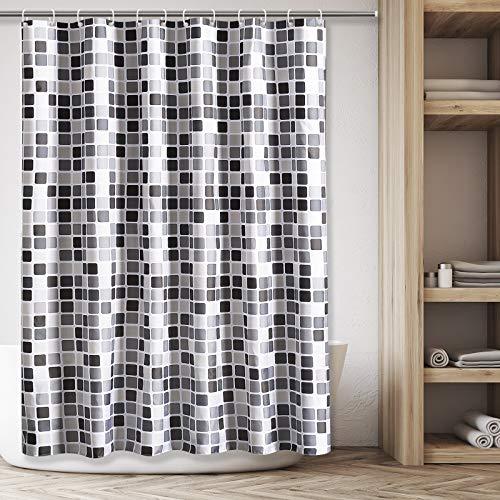 LOMUG Duschvorhang 120x180 Textil, Wasserdicht Duschvorhang Mosaikmuster,Polyester Duschvorhänge Waschbar,Anti-Schimmel,Anti-Bakteriell Badvorhang mit 12 Duschvorhängeringen für Badewanne und Bathroom