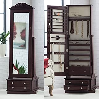 High End Luxury Modern Cabinet Organizer Mirrored Jewelry Stand Chest Armoire Set Solid Dark Espresso 20W x 15D x 63H in