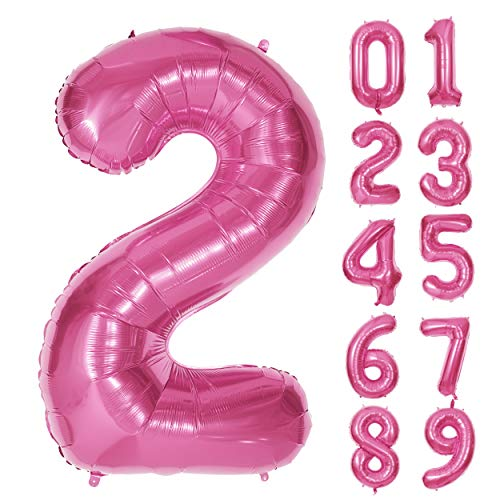 40 Inch Pink Number Foil Balloons 0-9 Balloons, Pink Foil Mylar Digital Number 2 Balloons for Girl Birthday Party Decorations (Number 2)