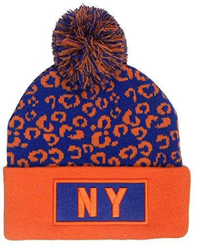 Bonnet à pompon style léopard avec logo Kush Swag N.Y - - Taille unique