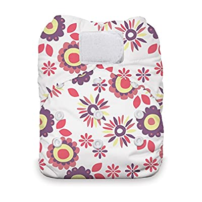 Thirsties Natural One Size All in One Cloth Diaper, Hook & Loop Closure, Alice Brights