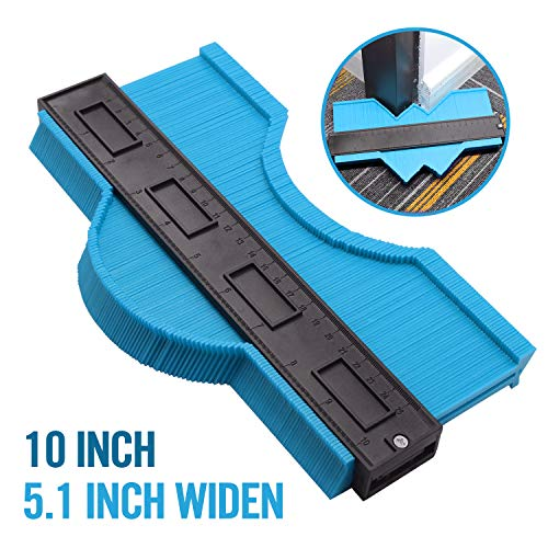 10 Inch Widened Contour Gauge Duplicator, Contour Tool Profile Guide for Woodworking Project Copy Layout Shape and Tile Cutting Measuring Tool -Extra Measure Depth (Blue)